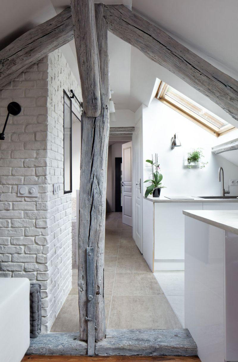 Attic apartment in France corridor
