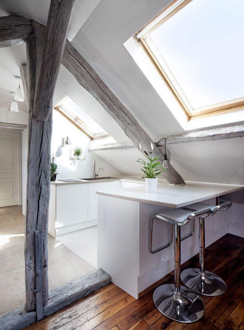 Attic apartment in France kitchen island