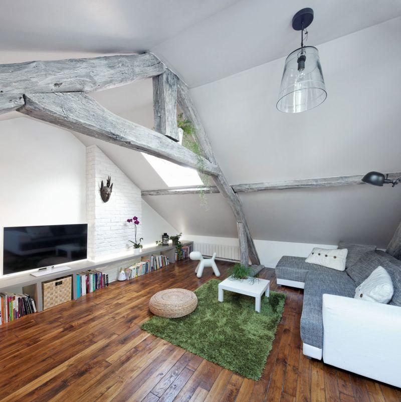 Attic apartment in France living area