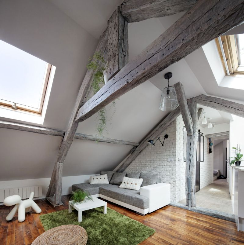 Attic apartment in France seating area