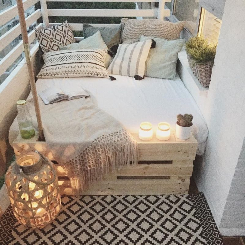 Balcony design with a daybed