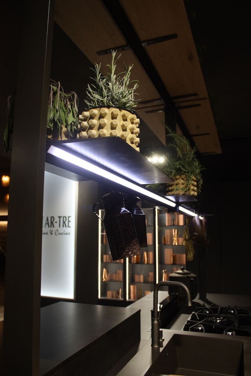 Eurocucina offers plenty of kitchen lighting inspiration this bar light fixture on an ar tre display is some serious kitchen island lighting arubaitofo Image collections