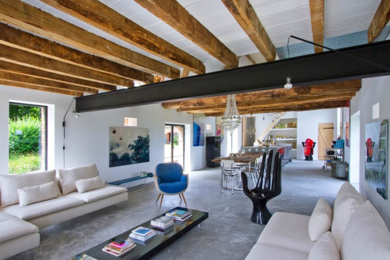 Barn Conversion In Burgundy Wood Beams