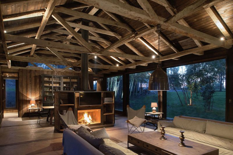 Barn House At Lake Ranco Living Room By Night
