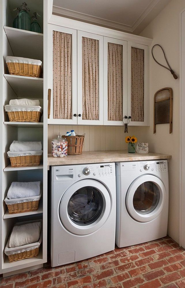 Baskets around the washing machines
