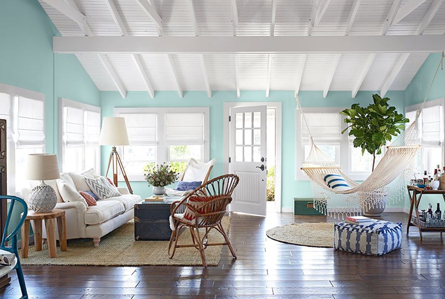 Beach inspired hammock living room