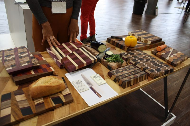 Den of Thieves showed some of the most beautiful wood cutting and serving boards we've seen. The company was founded by architect Simona Regolo and creative director Giuseppe Furcolo, as a collaborative project that brings together fellow wood rescuers, 'junk' collectors, craftsmen and artists.