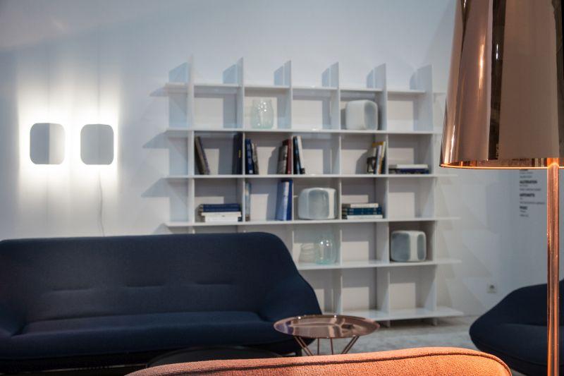 Blue sofa and shelves behind