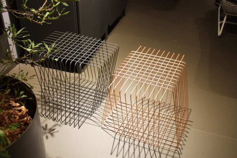 Not quite square, these wire side tables from Bonaldo cast an interesting shadow. The lacquered wire design is also great for an area where you want to keep the decor light and airy. It also comes in five vibrant colors.
