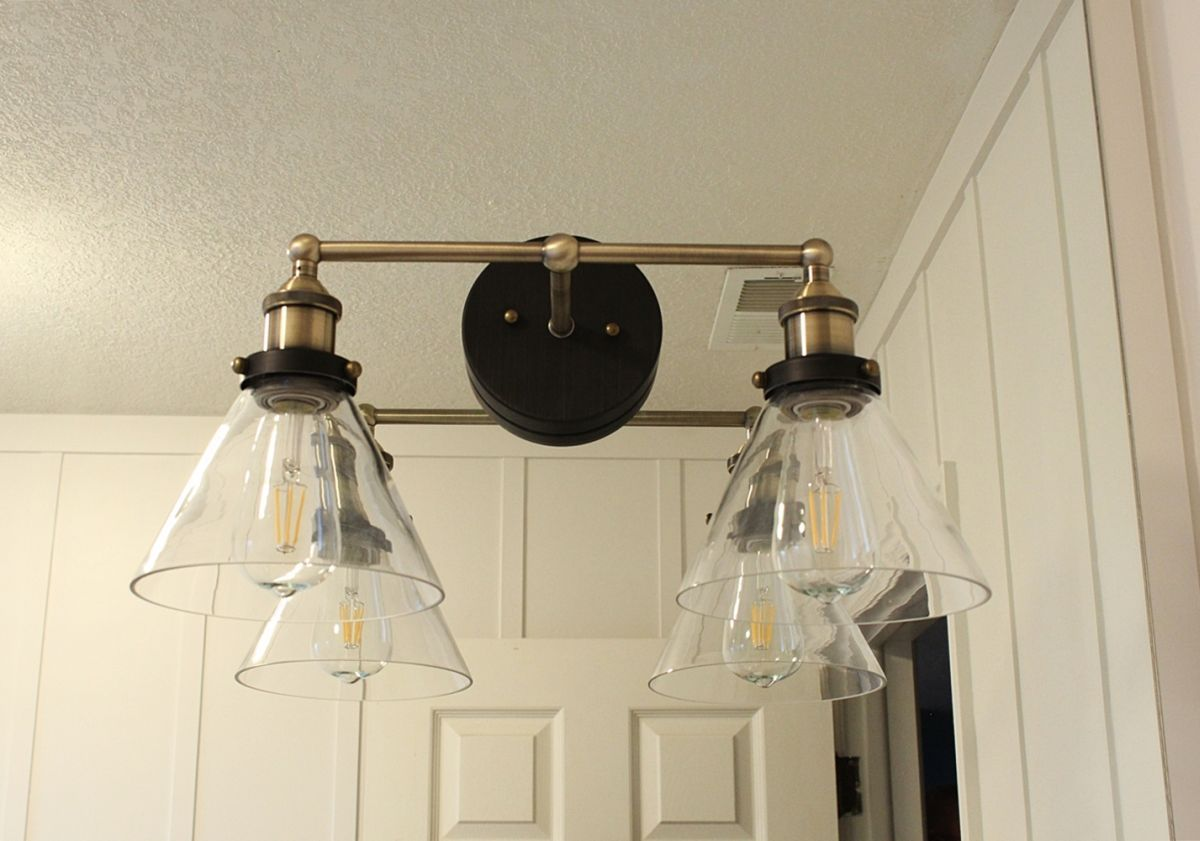 Bathroom Vanity Lights Brass how to mount a light on top of a mirror bathroom vanity