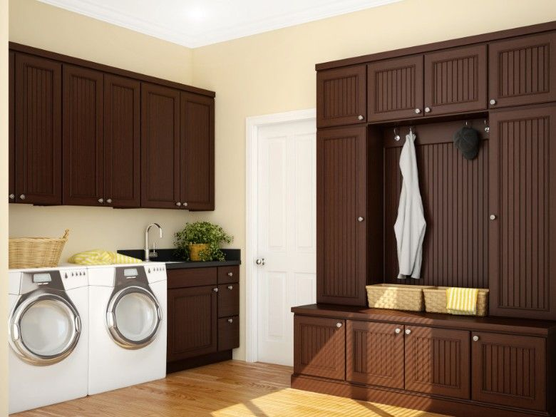 Brown laundry room design