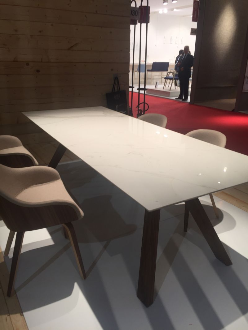 Brown walnul legs and white top for table