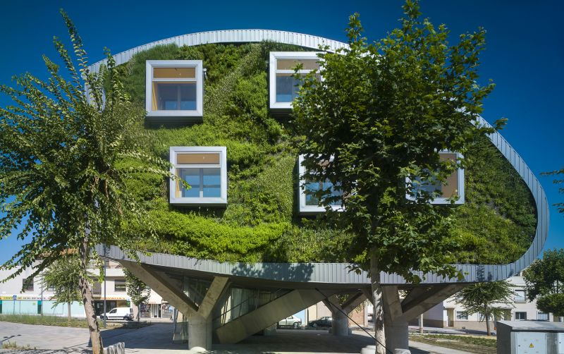Green Prototype Building Looks Like A Giant Tree With Windows