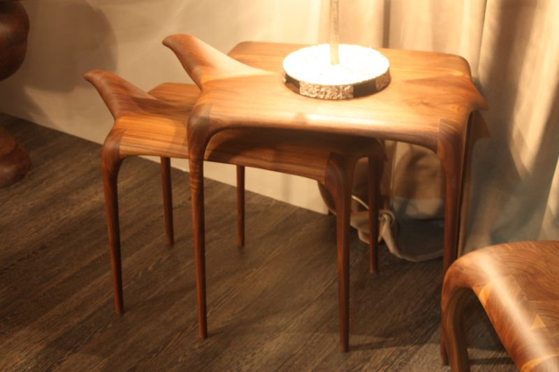 Elegant side tables, these are called Agrippa and Agrippina, are from the Camus Collection of Valencia, Spain. All of the company's pieces are warm wood, exquisitely carved into stunning furniture.