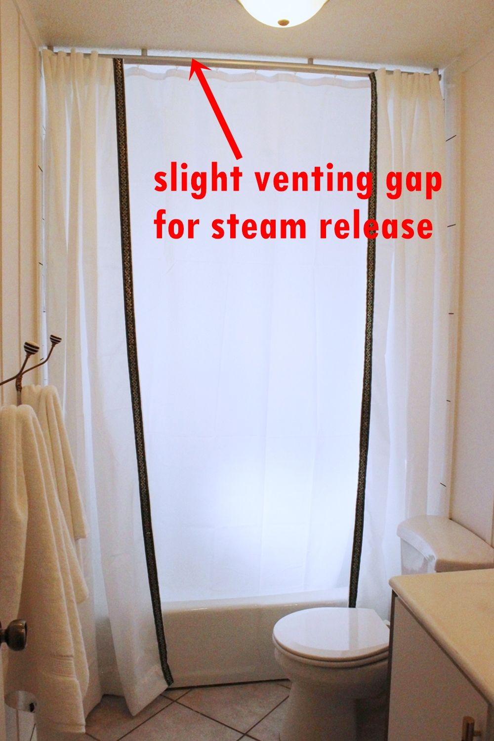 Ceiling Mount Shower Curtain-installed track rail