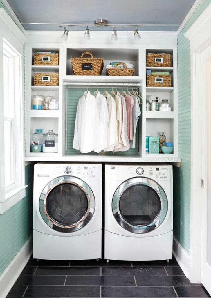 40 laundry room cabinets to make this house chore so much for Laundry room shelving