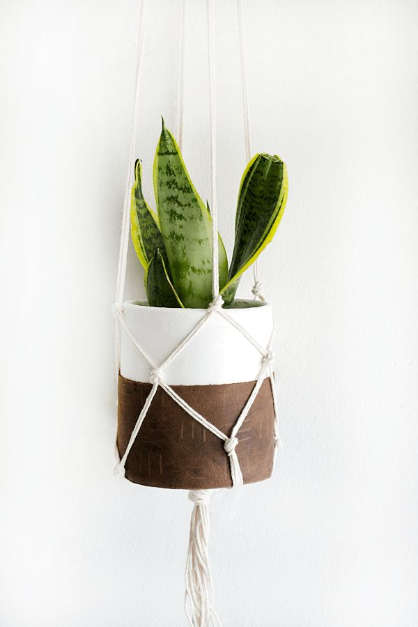 Clay and macrame for a hanging planter