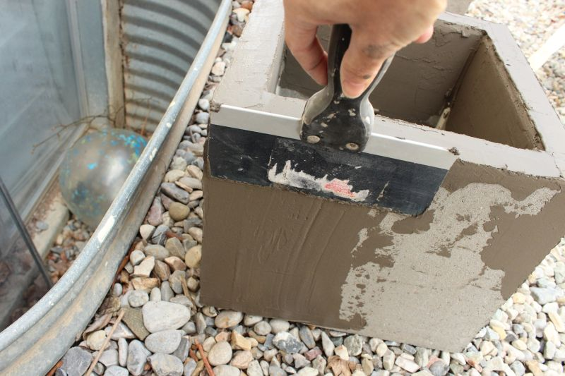 DIY Concrete Planters-adhesive