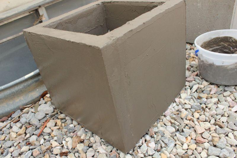 DIY Concrete Planters-rough finish
