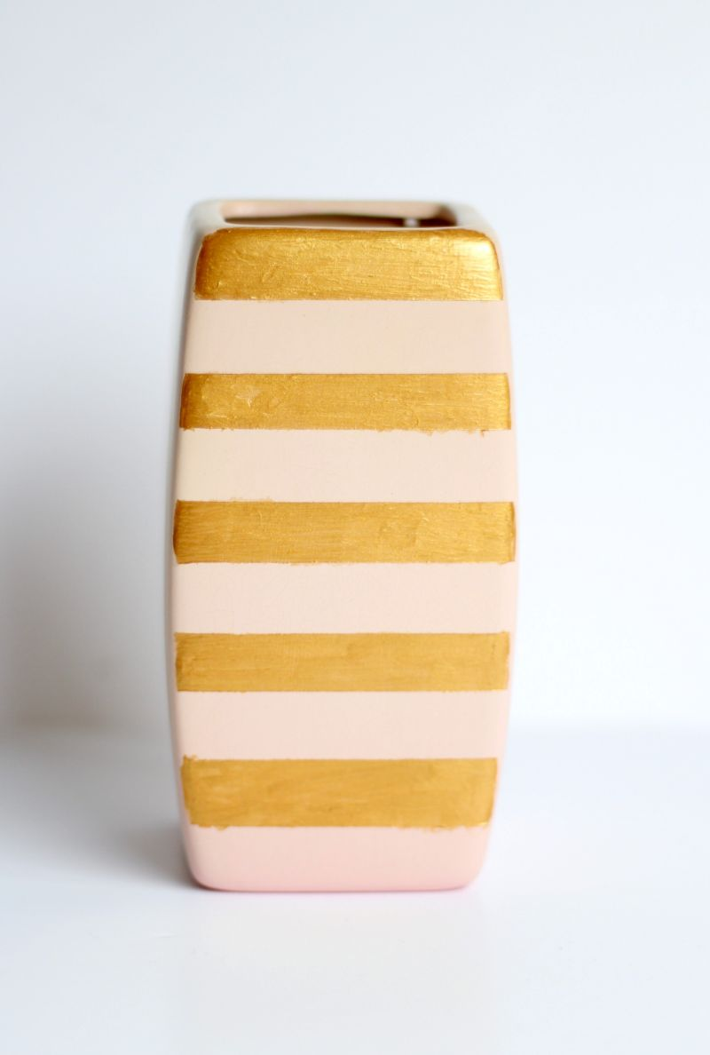 DIY Gold Stripe Vase Decor