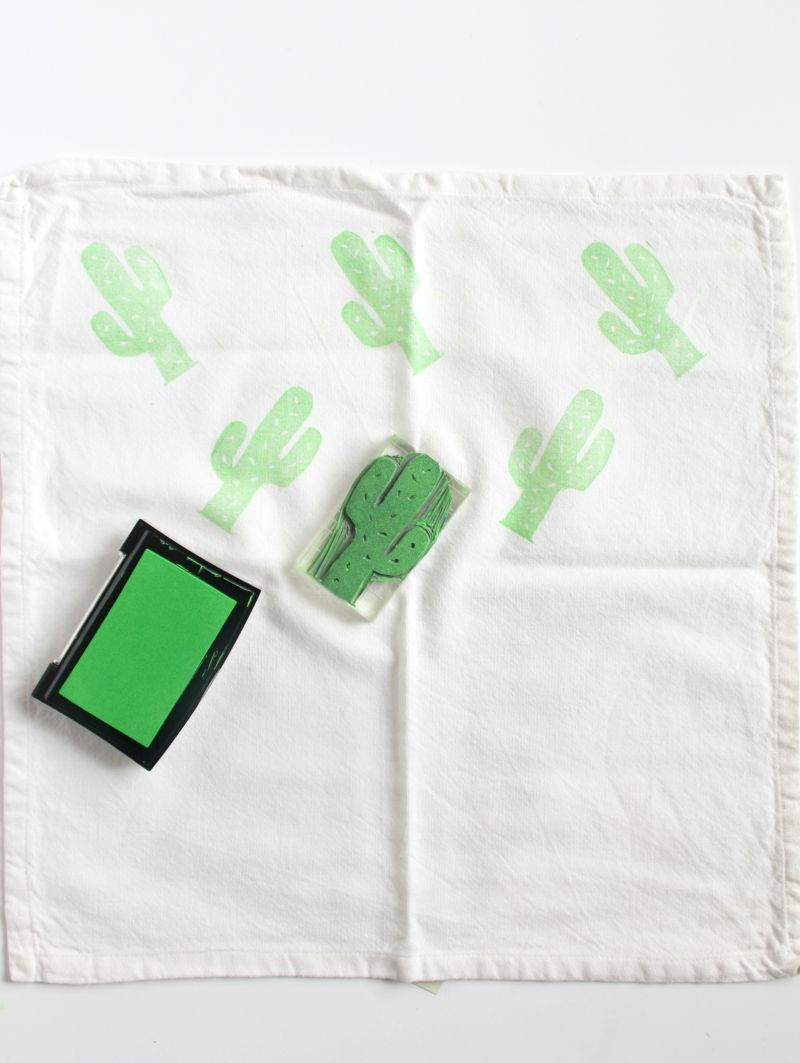 DIY Lino Print Cactus Napkins Craft