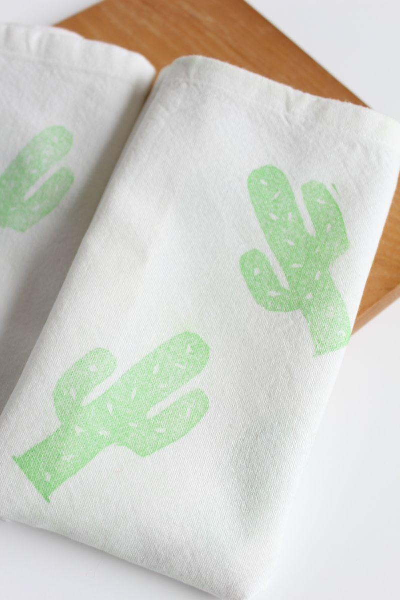 DIY Lino Print Cactus Napkins Green
