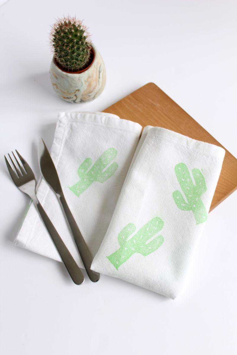 DIY Lino Print Cactus Napkins Modern