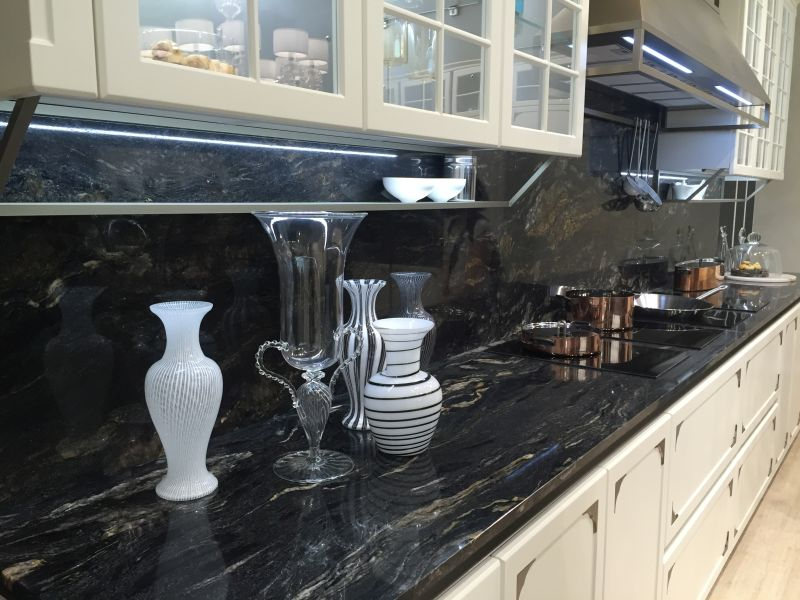 Dark marble backsplash detail