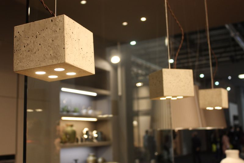 Concrete is still a design darling, especially when it's used to create kitchen pendant lighting like these cube-shaped fixtures shown by Arrex. Industrial and chic, they'll work in just about any modern or contemporary kitchen.
