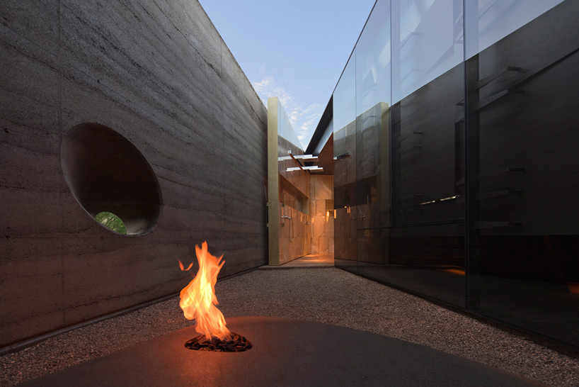 Desert Courtyard House fireplace