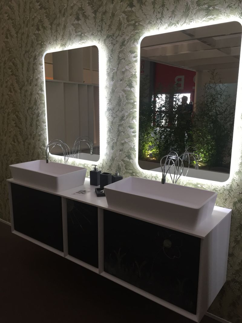 Double vanity with chalboard paint