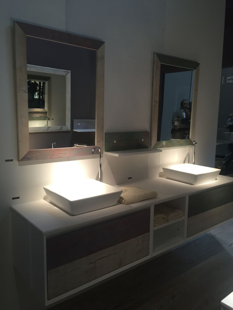 Double vanity with reclaimed wood fronts