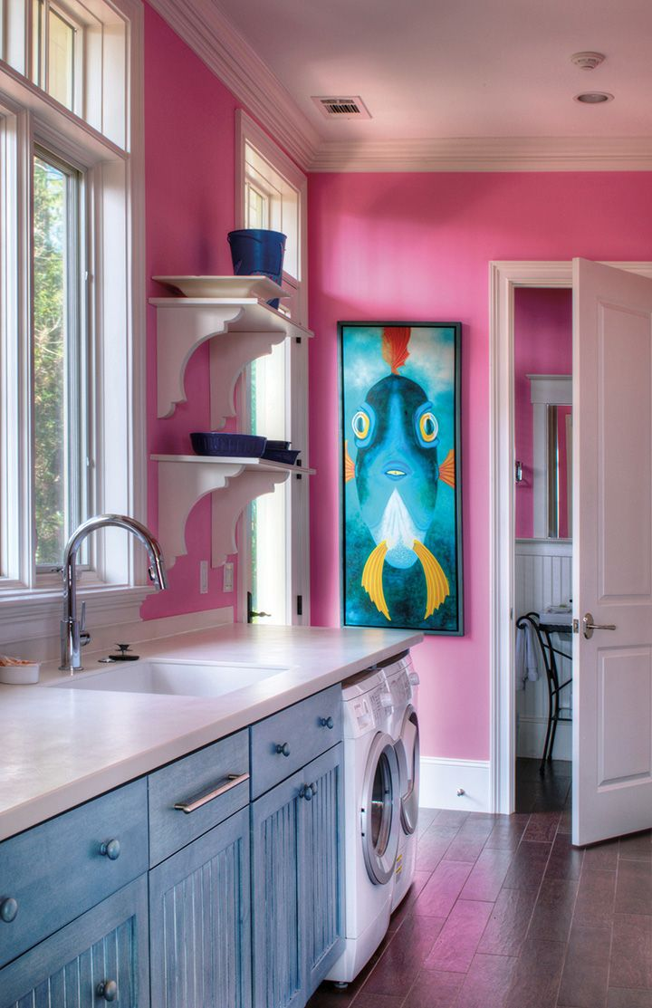 Dream fuschia painted laundry room walls
