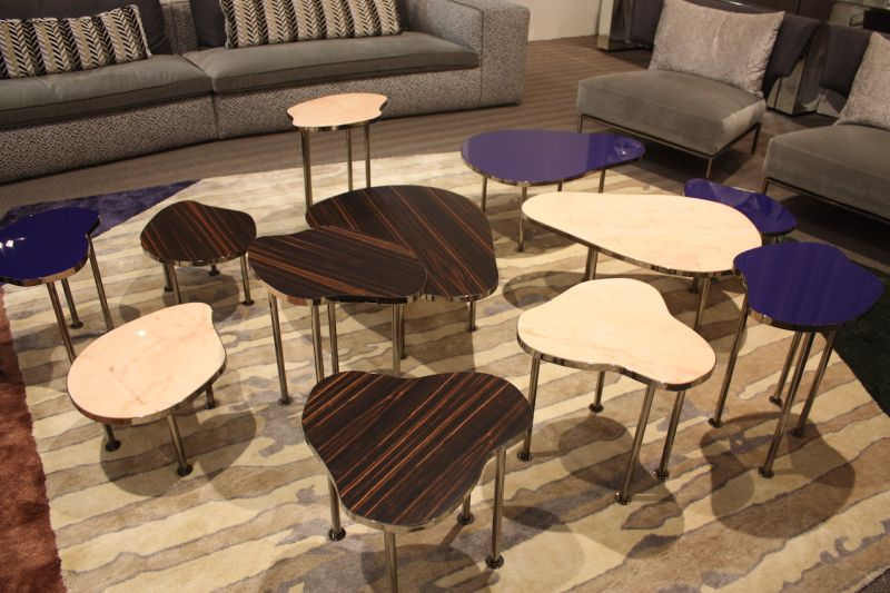 Amorphous shapes and varied colors make these leggy tables from Erba perfect for scattering around the room.