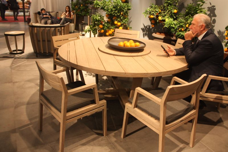 Lovers of wood furniture have a stunning choice with this expansive round outdoor table, also from Ethimo. The Costes table is available in a range of woods, from varnished mahogany to teak that has a pickled finish. The lazy susan in the middle adds functionality to an already versatile outdoor furnishing.