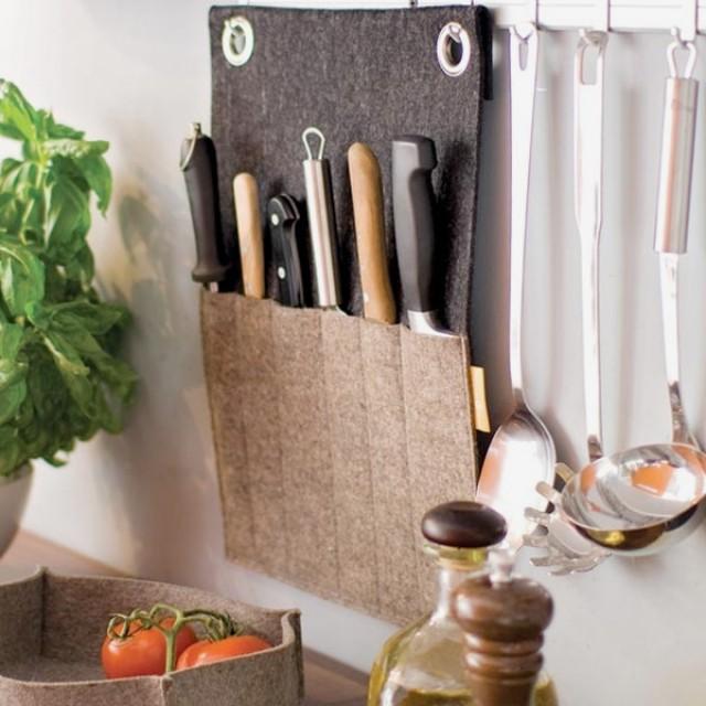 Felt kitchen knife storage