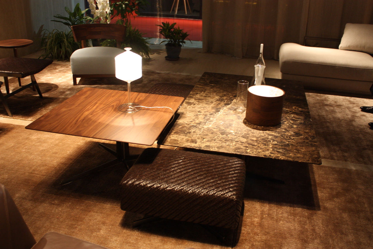 Here, Flexform Has Combined Wood And Marble Coffee Tables With A Smaller  Leather Ottoman,