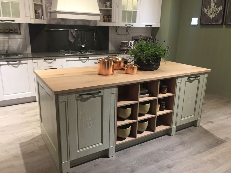 French Country Kitchen Island And Open Storge Space