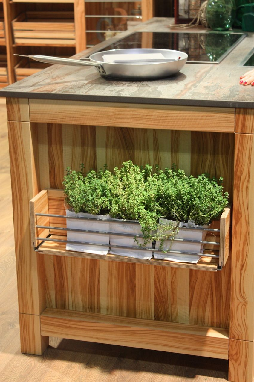 Details like an open storage box shelf at the end of the wood kitchen island make the difference between a basic island an a great one.