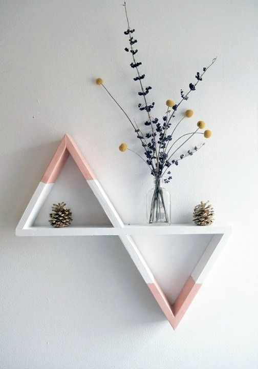 Geometric shelves with pastel colors
