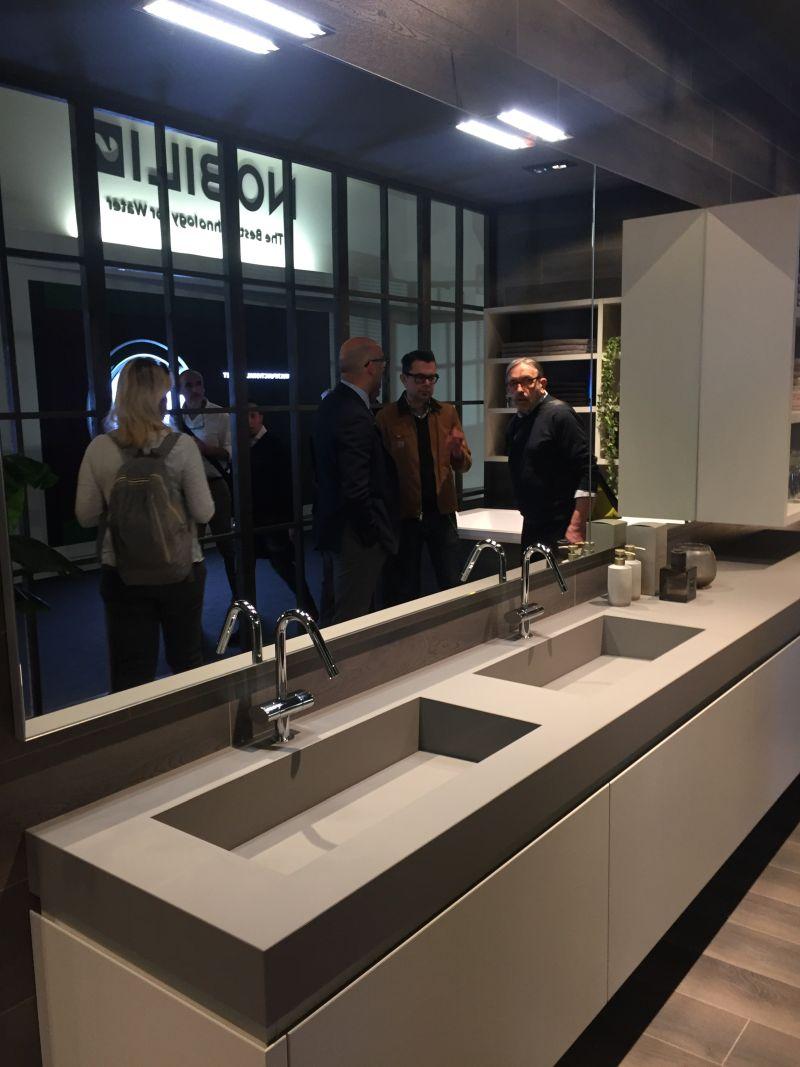 Grey bathroom double vanity
