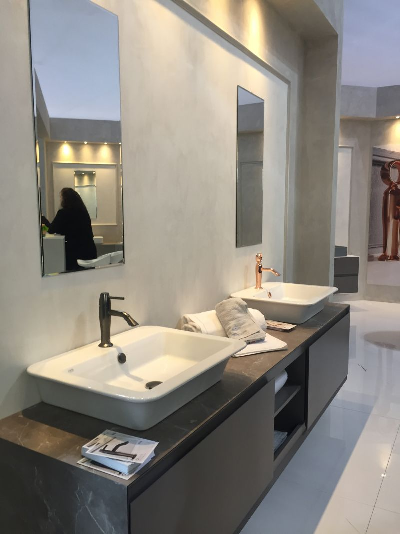 Grey marble double vanity with diff touches for faucet