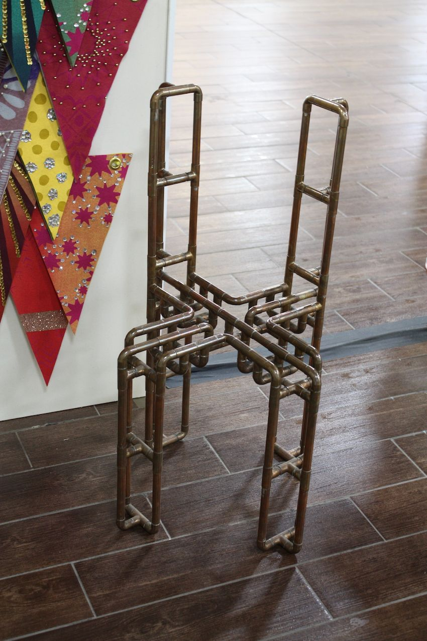 The Ground Floor Gallery showed a number of works including this chair fashioned from copper pipes.