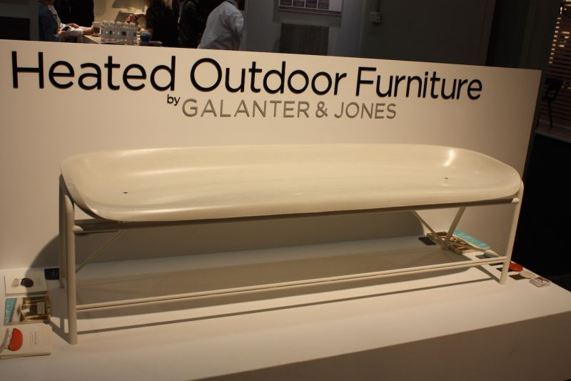 A favorite from 2015, Galanter & Jones were back with a new design in their heated outdoor furniture. This bench is more upright and is meant to be dining seating. Sign us up for a winter picnic!