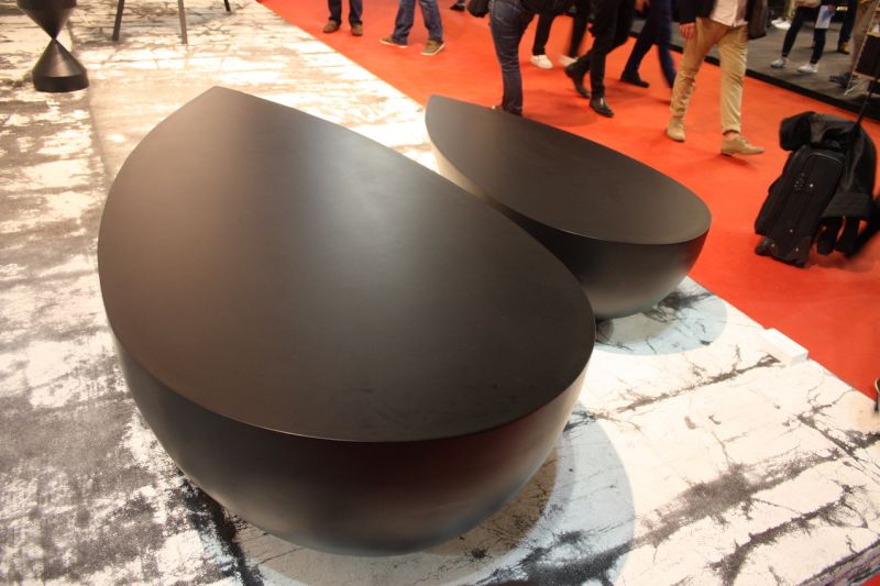 these teardrop-shaped coffee tables by Imperfetto Lab are called Ossidania. They are large, weighty an imposing, best suited to an open, minimalist space.