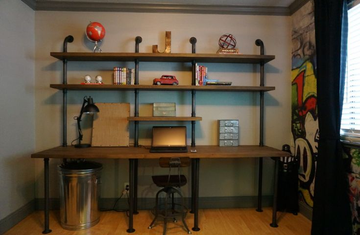 Industrial pipes wall shelving desk