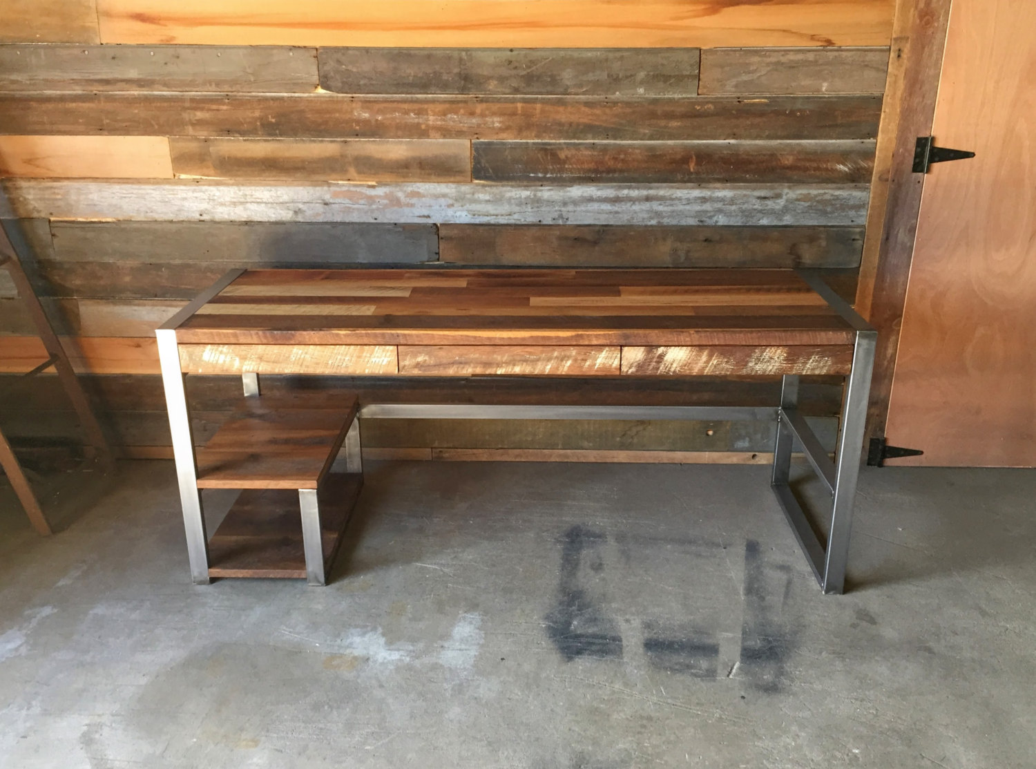 industrial style office desk. Industrial Reclaimed Wood Storage Desk Style Office