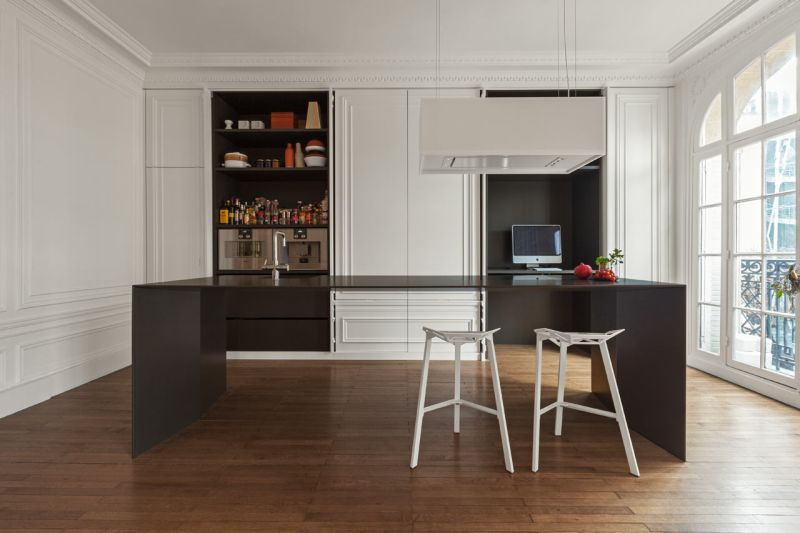 Invisible Kitchen wall unit opened doors