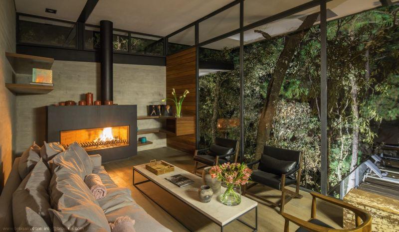 Irekua Anatani House living room fireplace