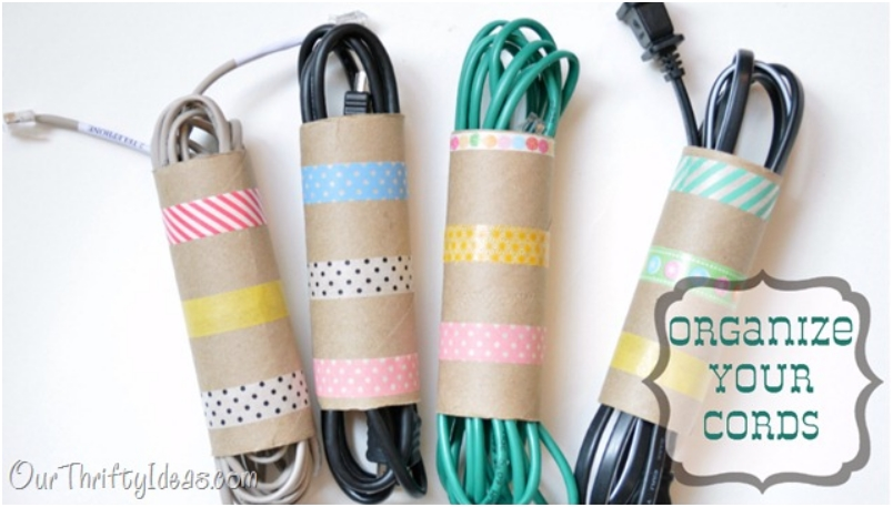 Keep cords organized with paper toilet tubes